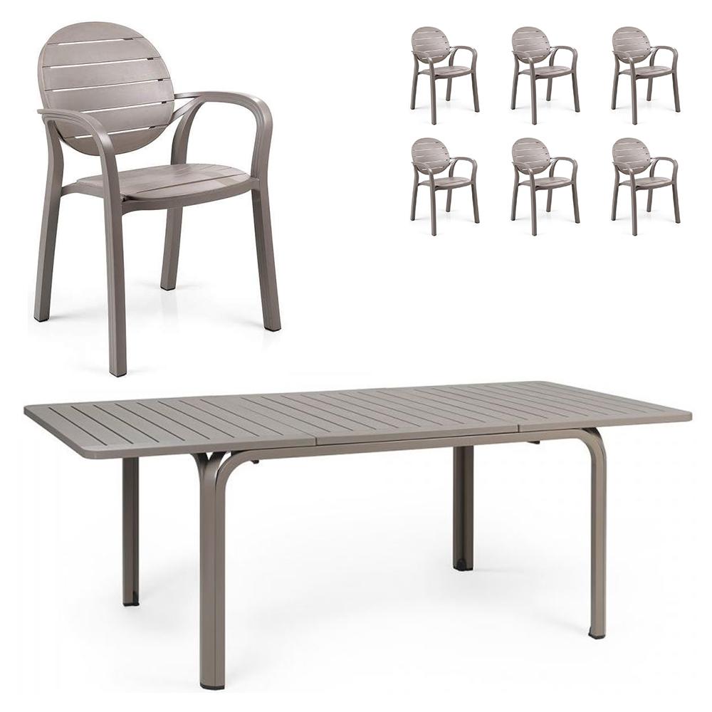 Set Alloro (1 tavolo Alloro + 6 sedie Palma)