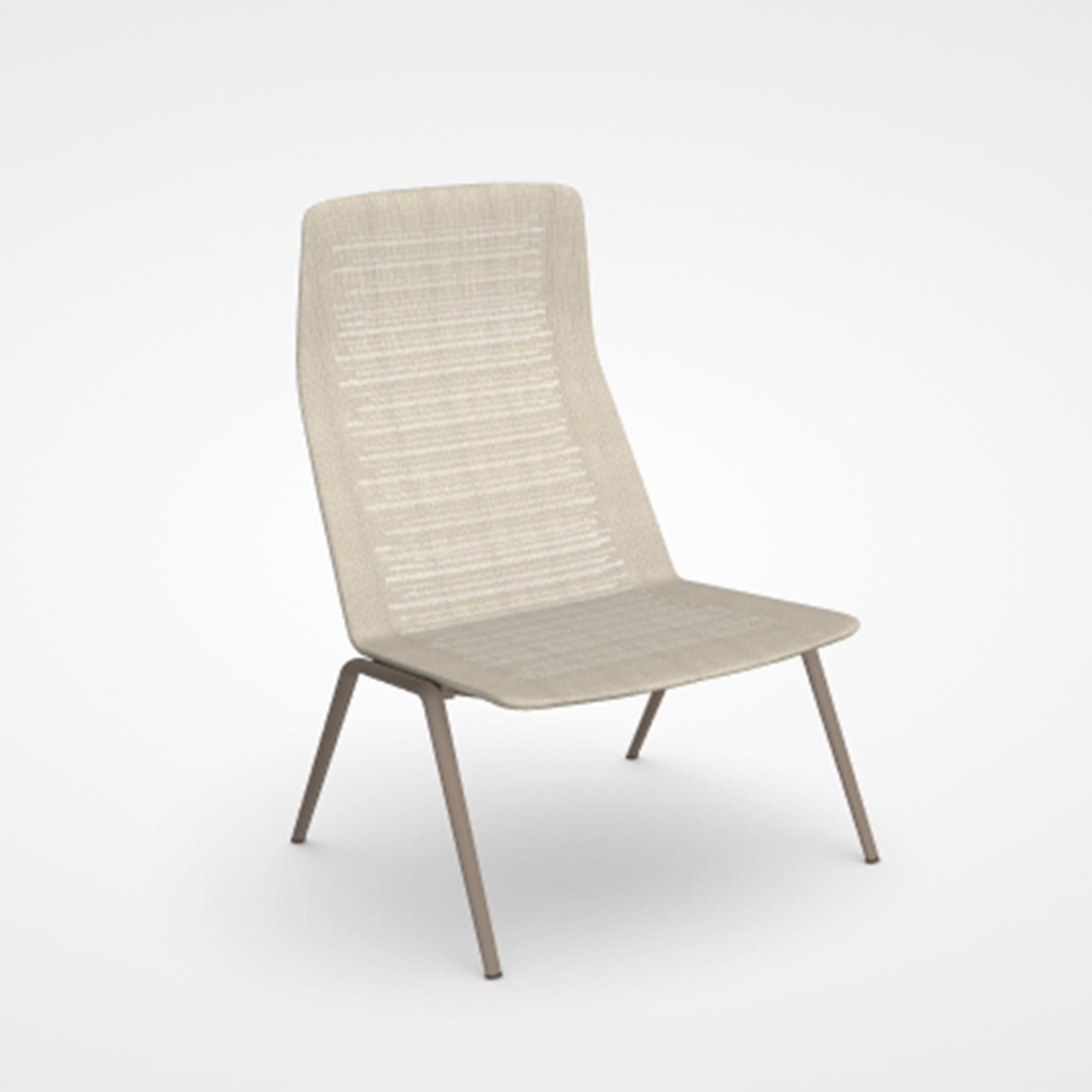 Poltrona Lounge Zebra Knit con schienale alto