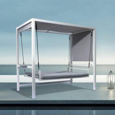 Dondolo 3 posti reclinabile Bianco-Olefin Grigio